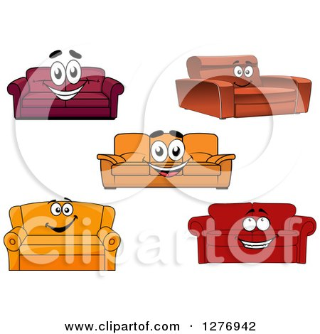 Clipart of Happy Cartoon Couches - Royalty Free Vector Illustration by Vector Tradition SM