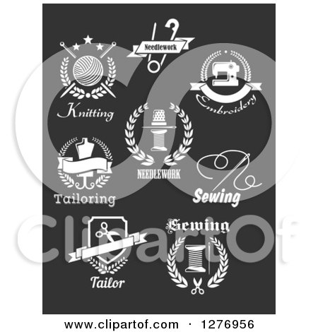 Clipart of White Tailor Designs on Dark Gray - Royalty Free Vector Illustration by Vector Tradition SM