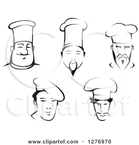 Clipart of Black and White Male Chef Faces - Royalty Free Vector Illustration by Vector Tradition SM
