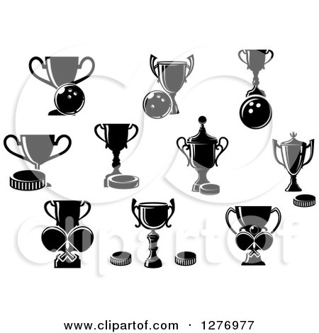 Clipart of Black and White Bowling, Hockey and Ping Pong Trophies - Royalty Free Vector Illustration by Vector Tradition SM
