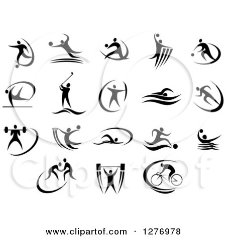 Clipart of Black and White Athletes and Swooshes - Royalty Free Vector Illustration by Vector Tradition SM