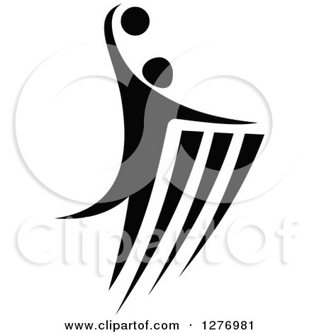 Clipart of a Black and White Volleyball or Basketball Player in Action - Royalty Free Vector Illustration by Vector Tradition SM