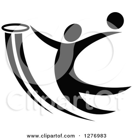 Clipart of a Black and White Basketball Player Dunking - Royalty Free Vector Illustration by Vector Tradition SM