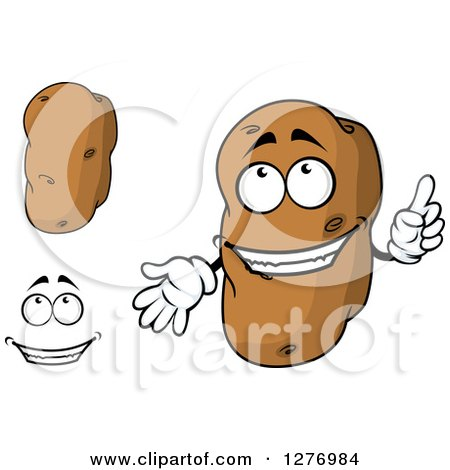 Clipart of Russet Potatos and a Face - Royalty Free Vector Illustration by Vector Tradition SM