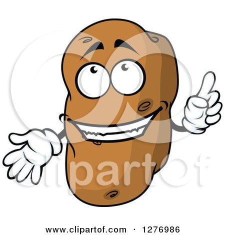 Clipart of a Russet Potato Character Holding up a Finger - Royalty Free Vector Illustration by Vector Tradition SM