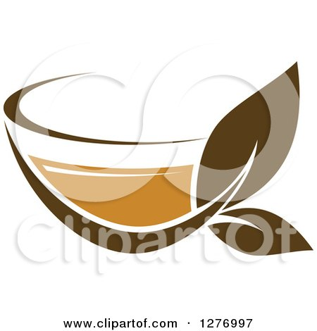 Clipart of a Leafy Brown Tea Cup 28 - Royalty Free Vector Illustration by Vector Tradition SM