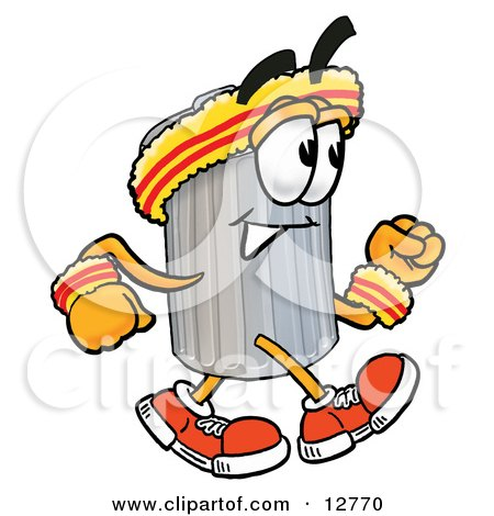 Clipart Picture of a Garbage Can Mascot Cartoon Character Speed Walking or Jogging by Toons4Biz