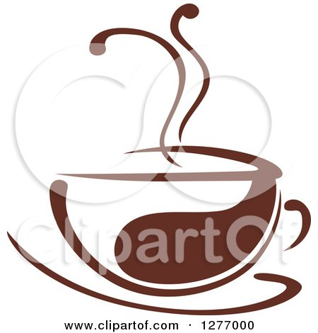 Clipart of a Dark Brown and White Steamy Coffee Cup 37 - Royalty Free Vector Illustration by Vector Tradition SM
