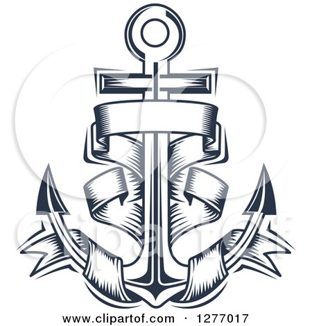 Clipart of a Navy Blue Nautical Anchor and Banner 9 ...