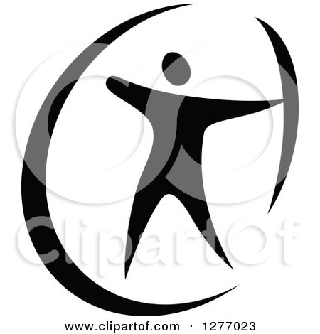 Clipart of a Black and White Archer Aiming - Royalty Free Vector Illustration by Vector Tradition SM