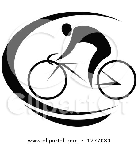Clipart of a Black and White Cyclist and Swoosh - Royalty Free Vector Illustration by Vector Tradition SM