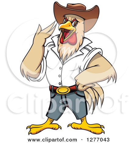 Clipart of a Cowboy Rooster Crowing - Royalty Free Vector Illustration by Vector Tradition SM
