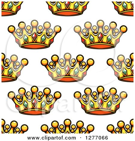 Clipart of a Seamless Patterned Background of Gold Crowns - Royalty Free Vector Illustration by Vector Tradition SM