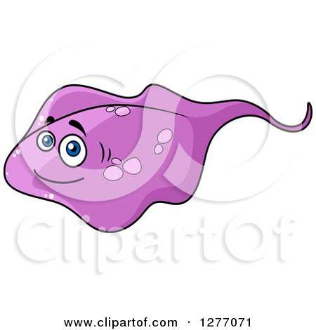 Clipart of a Cartoon Purple Stingray - Royalty Free Vector Illustration by Vector Tradition SM