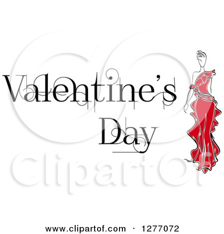 Clipart of a Woman in a Red Dress and Valentines Day Text - Royalty Free Vector Illustration by Vector Tradition SM