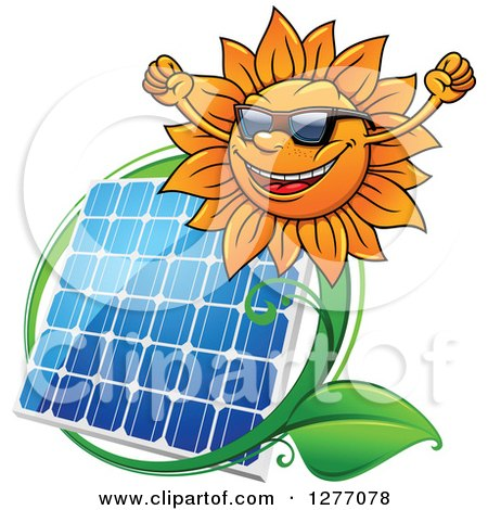 Clipart of a Cheering Sun and Solar Panel Encircled with a Swoosh and Green Leaves - Royalty Free Vector Illustration by Vector Tradition SM