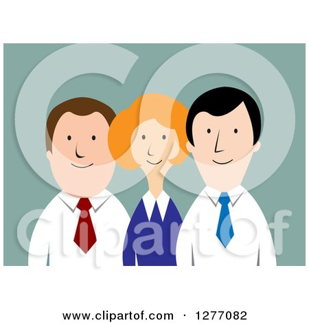 Clipart of a Happy Business Team over Blue - Royalty Free Vector Illustration by Vector Tradition SM