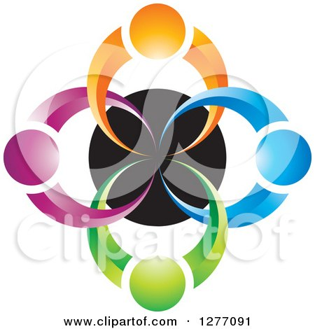 Clipart of a Colorful People over a Black Circle Teamwork Icon - Royalty Free Vector Illustration by Lal Perera