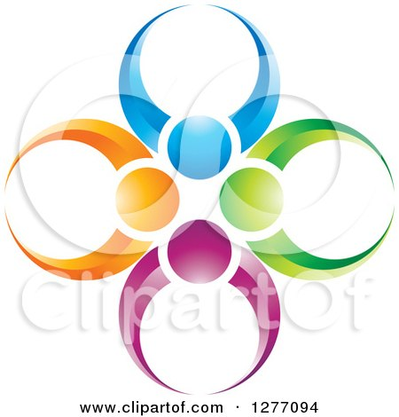 Clipart of a Colorful People Teamwork Icon - Royalty Free Vector Illustration by Lal Perera