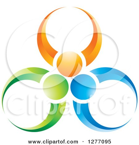 Clipart of a Green Orange and Blue People Teamwork Icon - Royalty Free Vector Illustration by Lal Perera