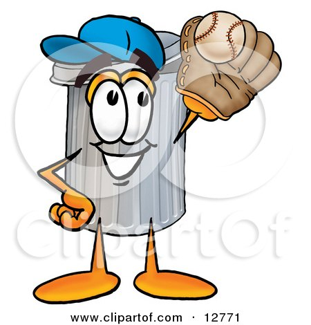 Clipart Picture of a Garbage Can Mascot Cartoon Character Catching a Baseball With a Glove by Toons4Biz