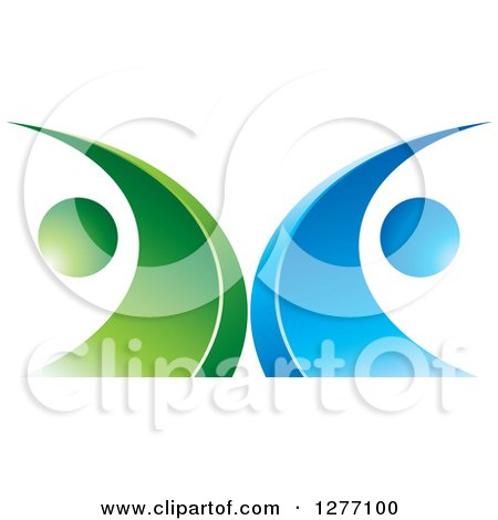Clipart of a Blue and Green Abstract Ecology Logo 5 - Royalty Free Vector Illustration by Lal Perera