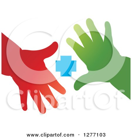 Clipart of Red and Green Childrens Hands and a Blue Cross - Royalty Free Vector Illustration by Lal Perera