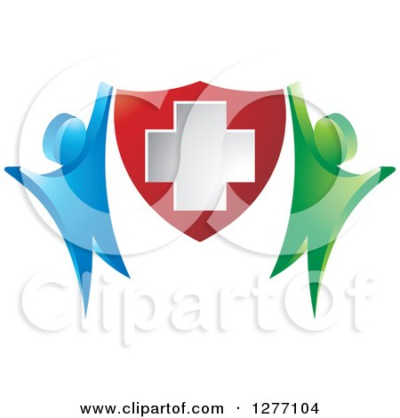 Clipart of a Blue and Green People Cheering and Holding up a Medical Cross Shield - Royalty Free Vector Illustration by Lal Perera