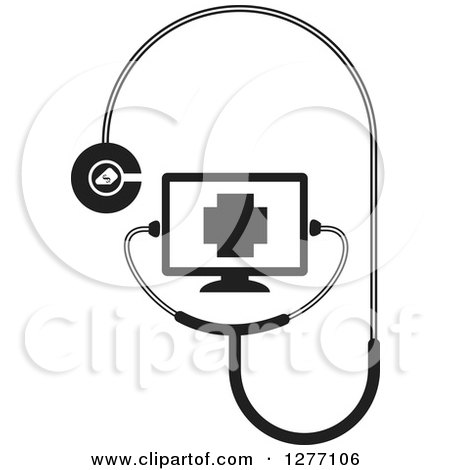 Clipart of a Black and White Stethoscope Connected to a Screen - Royalty Free Vector Illustration by Lal Perera