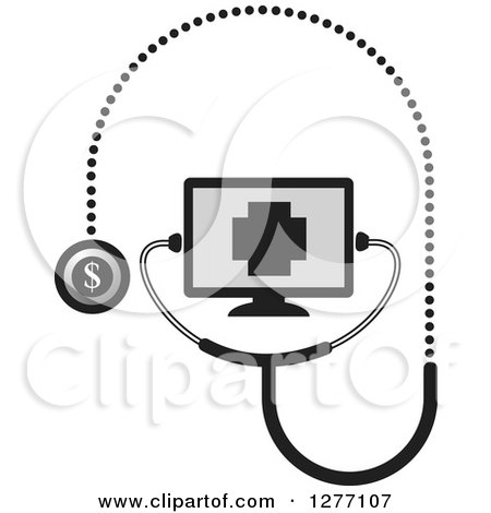 Clipart of a Grayscale Stethoscope Connected to a Screen - Royalty Free Vector Illustration by Lal Perera
