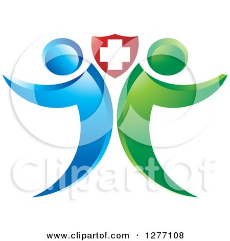 Clipart of a Blue and Green People Standing Back to Back Under a Medical Cross Shield - Royalty Free Vector Illustration by Lal Perera