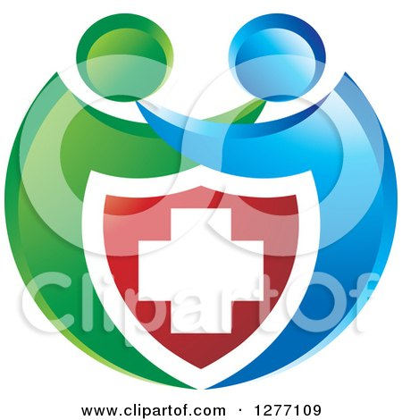 Clipart of a Blue and Green People Hugging over a Medical Cross Shield - Royalty Free Vector Illustration by Lal Perera
