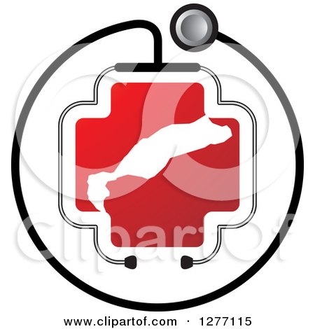 Clipart of a Stethoscope Encircling a Red Cross and Abstract White Shape - Royalty Free Vector Illustration by Lal Perera