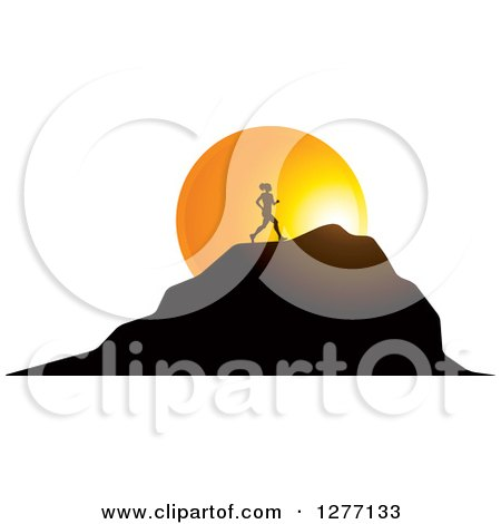 Clipart of a Silhouetted Woman Running up a Mountain over a Sunset Circle - Royalty Free Vector Illustration by Lal Perera