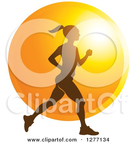 Clipart of a Silhouetted Woman Running over a Sunset Circle - Royalty Free Vector Illustration by Lal Perera