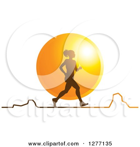 Clipart of a Silhouetted Woman Running over a Sunset Circle and a Chart - Royalty Free Vector Illustration by Lal Perera