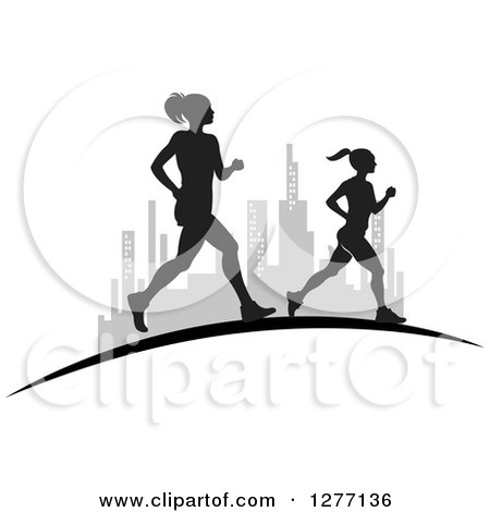 Clipart of Silhouetted Women Running over a Grayscale City - Royalty Free Vector Illustration by Lal Perera