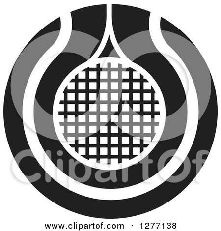 Clipart of a Black and White Tennis Racket or Net Icon - Royalty Free Vector Illustration by Lal Perera