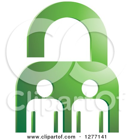 Clipart of a Green Padlock and White People - Royalty Free Vector Illustration by Lal Perera