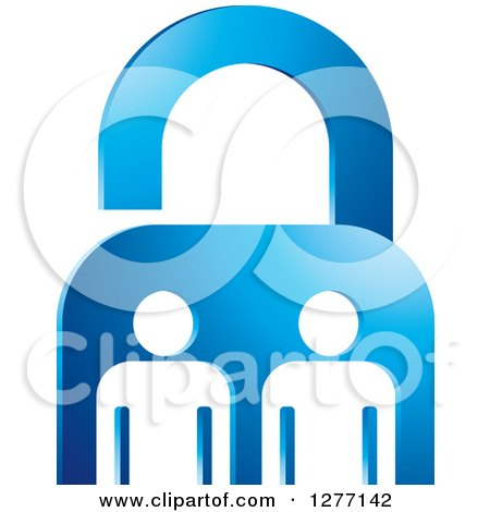 Clipart of a Blue Padlock and White People - Royalty Free Vector Illustration by Lal Perera