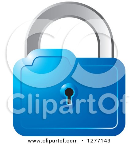 Clipart of a Blue and Silver Padlock - Royalty Free Vector Illustration by Lal Perera