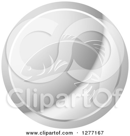 Clipart of a Shiny Silver Fish Logo - Royalty Free Vector Illustration by Lal Perera