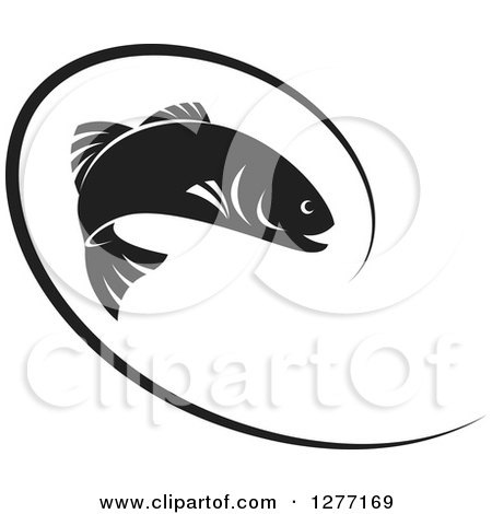 Clipart of a Black and White Leaping Fish and Line - Royalty Free Vector Illustration by Lal Perera
