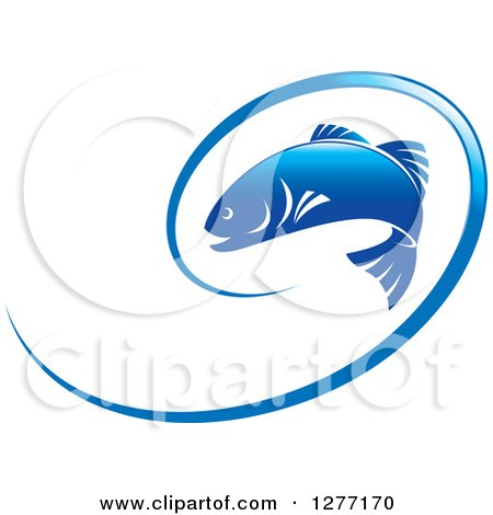 Clipart of a Blue Leaping Fish and Line - Royalty Free Vector Illustration by Lal Perera