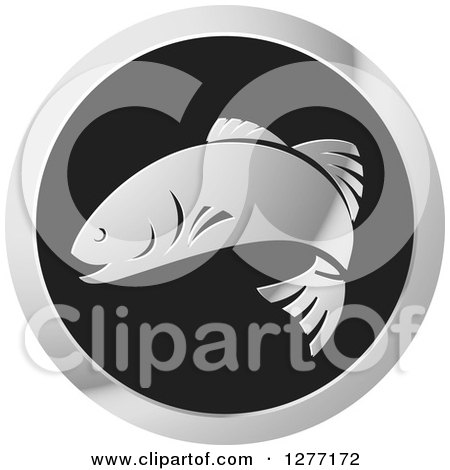 Clipart of a Shiny Silver and Black Fish Logo - Royalty Free Vector Illustration by Lal Perera