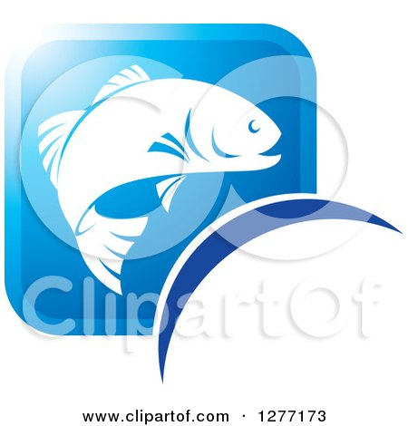 Clipart of a Square Blue and White Fish Icon - Royalty Free Vector Illustration by Lal Perera