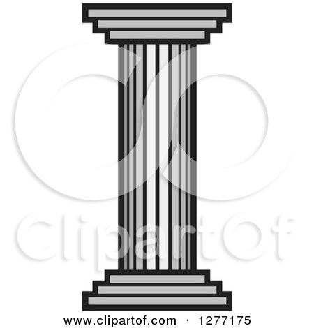 Clipart of a Grayscale Pillar Column - Royalty Free Vector Illustration by Lal Perera