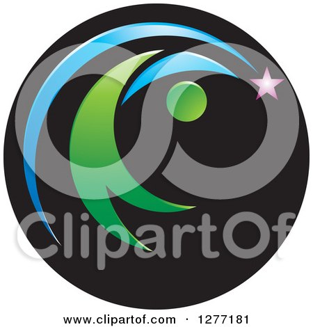 Clipart of a Abstract Green Person Chasing a Shooting Star in a Black Circle - Royalty Free Vector Illustration by Lal Perera