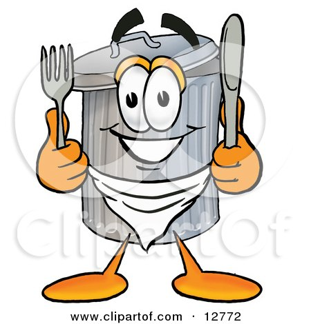 Clipart Picture of a Garbage Can Mascot Cartoon Character Holding a Knife and Fork by Toons4Biz