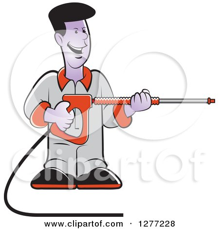 Clipart of a Happy Black Man Operating a Power Washer - Royalty Free Vector Illustration by Lal Perera